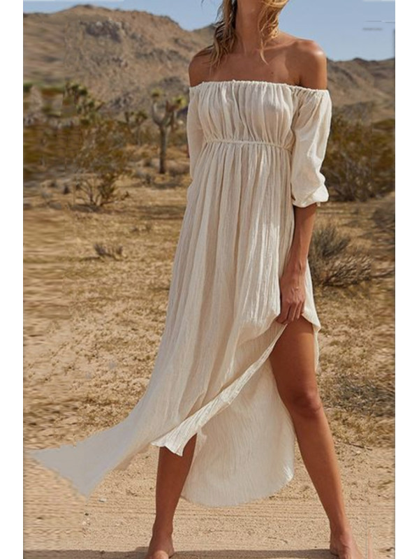 Classy Off The Shoulder Plain Open Fork Casual Dress