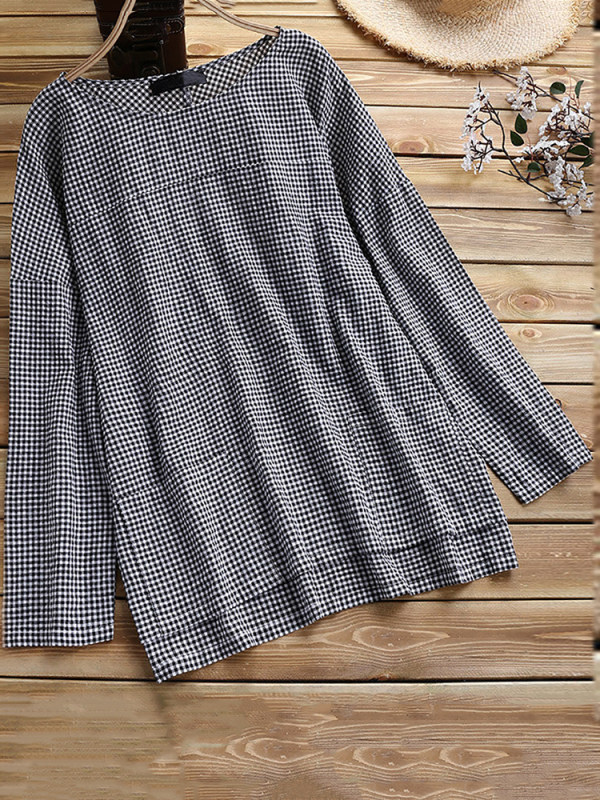 Cotton-Linen Plaid Loose Shirt