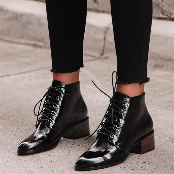 Fashion women's round-toe lace-up martin boots