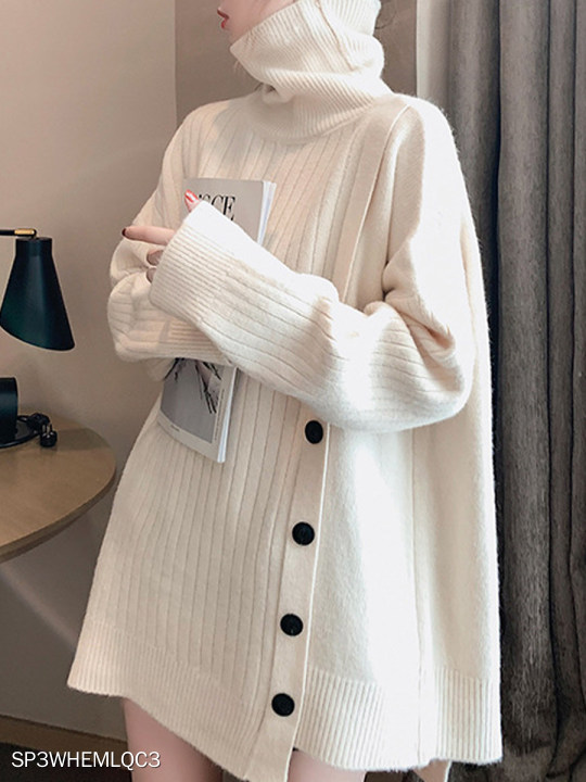 Heap Collar Decorative Buttons Plain Long Sleeve Knit Cardigan