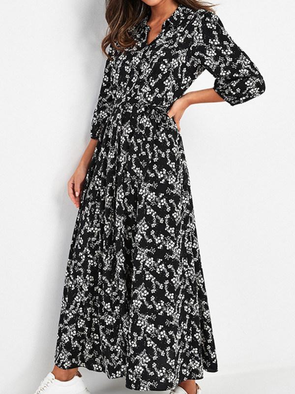 Printed V-neck Long Sleeve Lace Up Dress