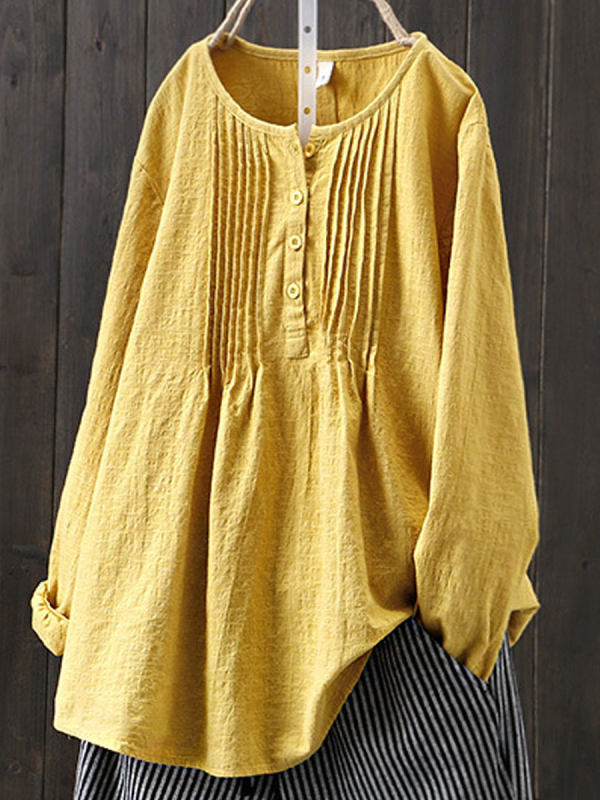 Retro Solid Color Cotton And Linen Round Neck Long Sleeve Blouse