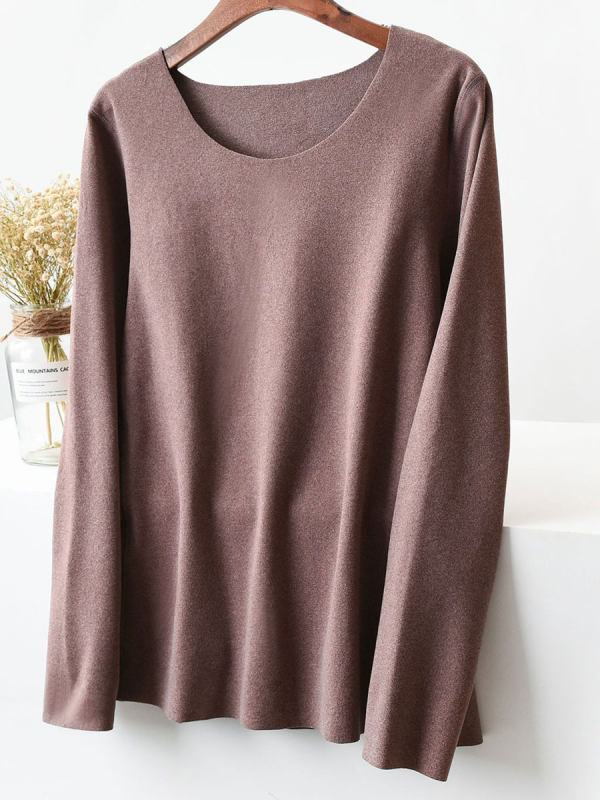 Round Neck Seamless Solid Color Long-sleeved T-shirt