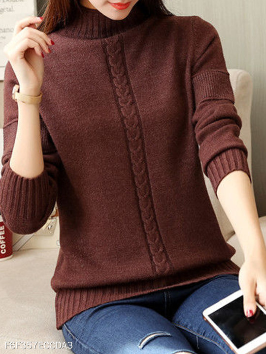 Short High Collar Patchwork Brief Plain Long Sleeve Knit Pullover