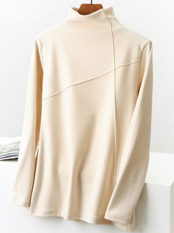 Solid Color High Neck Long Sleeve T-shirt