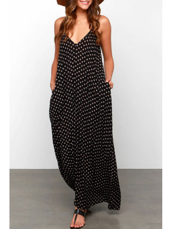 Spaghetti Strap Dot Sleeveless Maxi Dresses