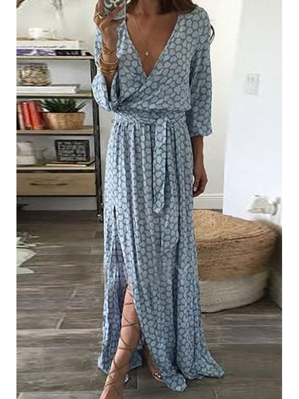 V Neck Belt Printed Maxi Dresses