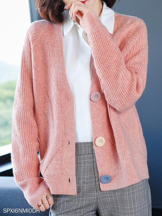 V Neck Buttons Plain Long Sleeve Knit Cardigan