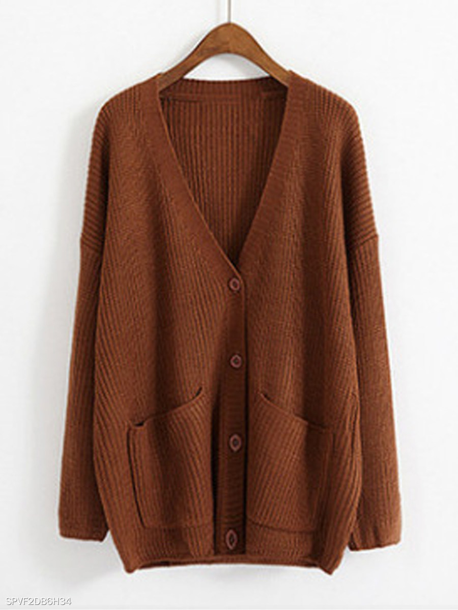 V Neck Plain Long Sleeve Knit Cardigan 2