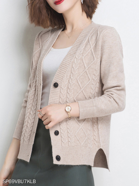 V Neck Plain Long Sleeve Knit Cardigan