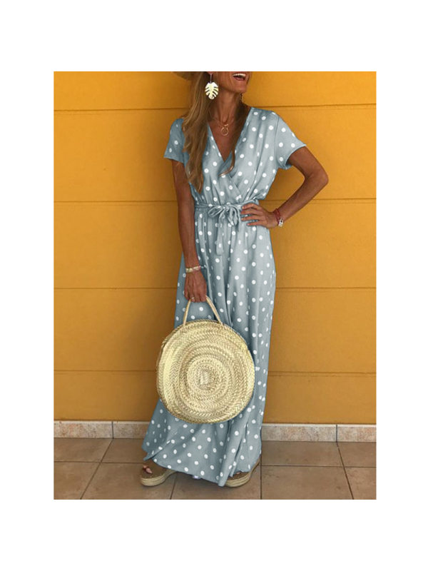 V Neck Short Sleeve Polka Dot Maxi Dress