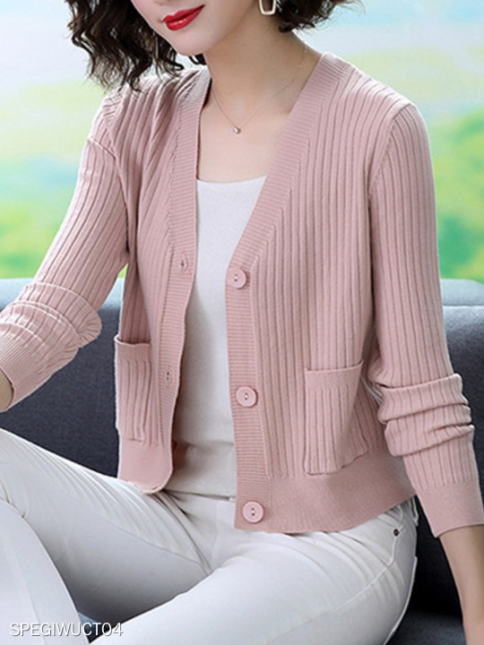 V-neck Knitted Long-sleeved Cardigan