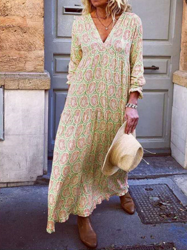 V-neck long sleeve printed loose dress