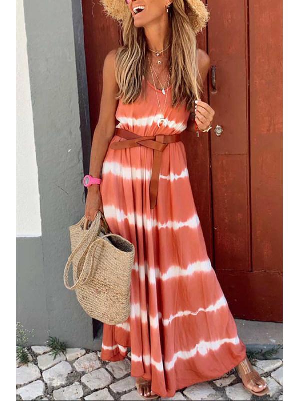 Wave print camisole dress