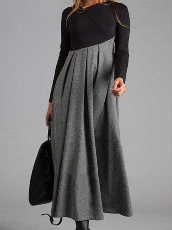Contrasting Color V-neck Long Sleeve Dress