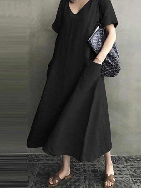 Cotton And Linen V-neck Swing Shift Dress