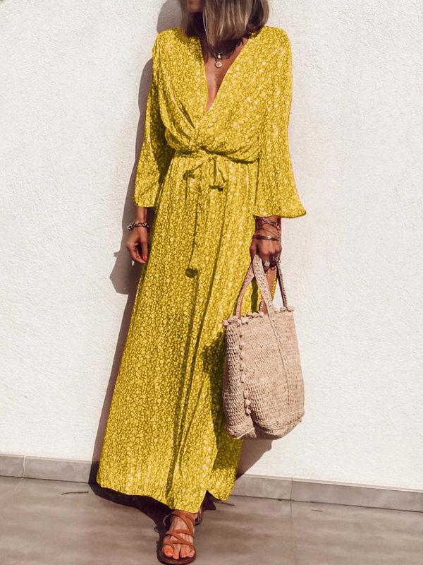 Elegant V Neck Floral Pattern Long Sleeve Dress