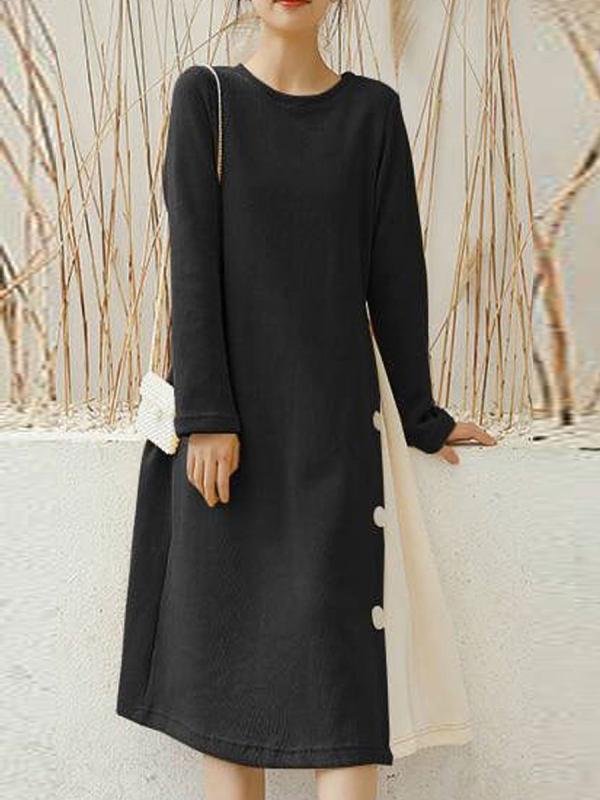 Loose Casual Long Sleeve Straight Shift Dress