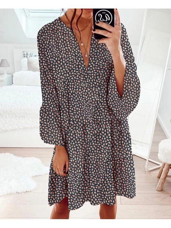 Loose all-match printed V-neck dress