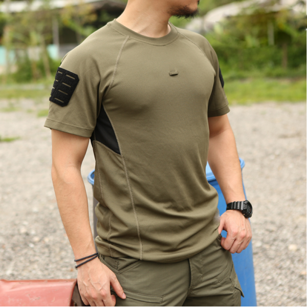 Mens Breathable Quick-Drying Tactical Velcro T-Shirt