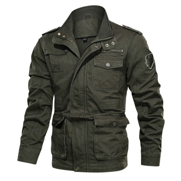 Men's outdoor mid-length military jacket
