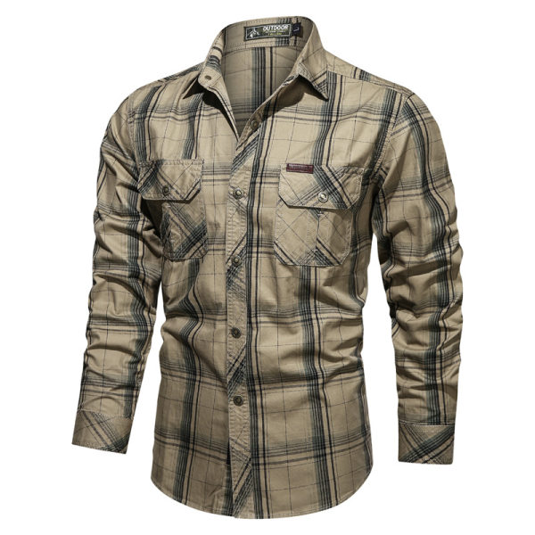 Men's tooling plus size casual shirt autumn cotton plaid long-sleeved shirt