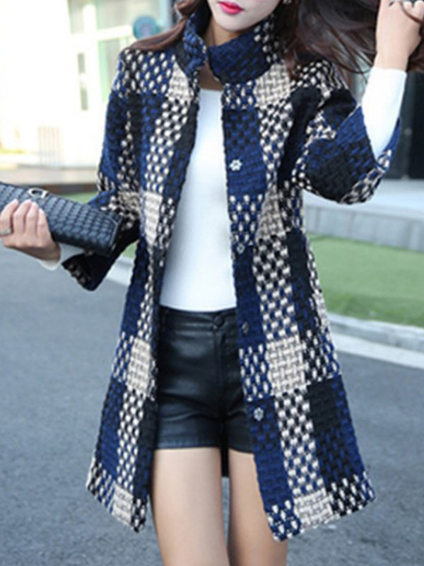 Band Collar Plaid Coat