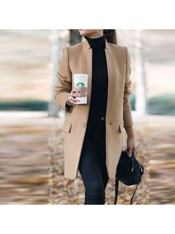 Band Collar Plain Long Sleeve Coats