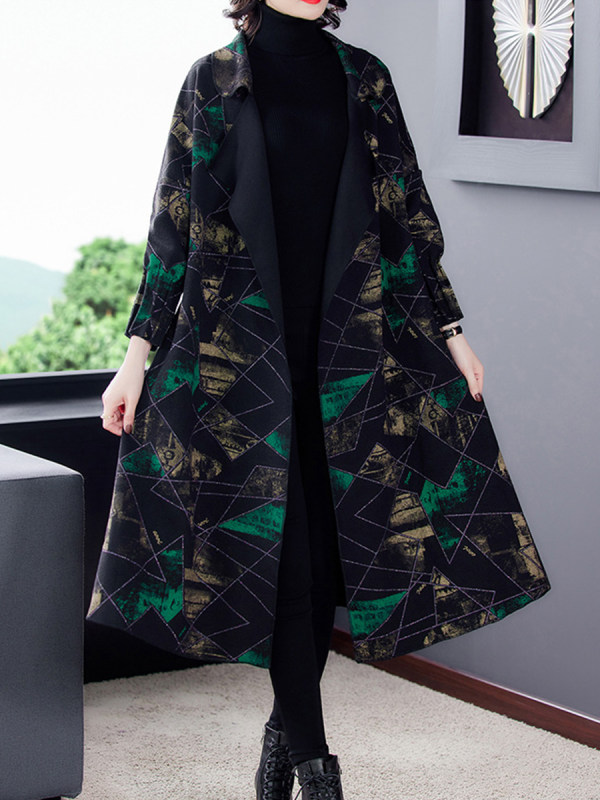Lapel Print Mid-length Woolen Coat