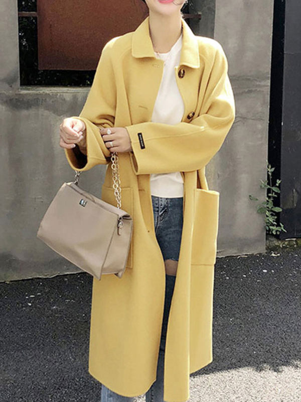 Long-sleeved Solid Color Coat With Lapel Collar
