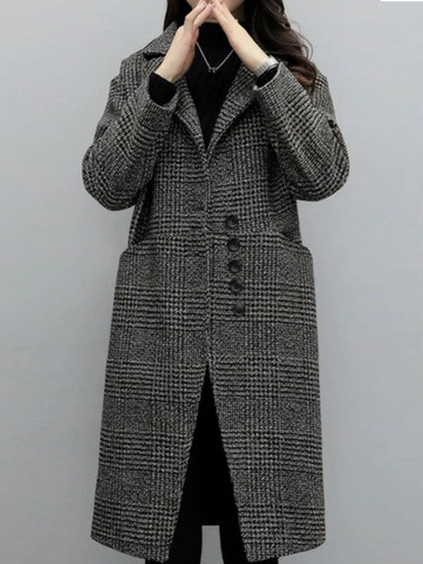 Long-sleeved Tartan Coat With Lapel Collar