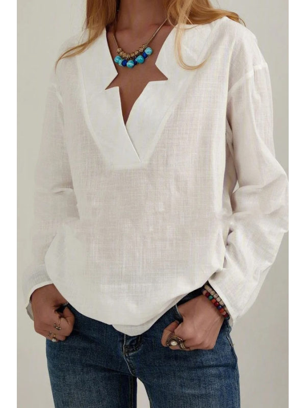 Loose Top V-neck Long Sleeve Shirt