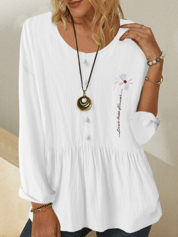 Loose round neck pullover long sleeve flower embroidery shirt