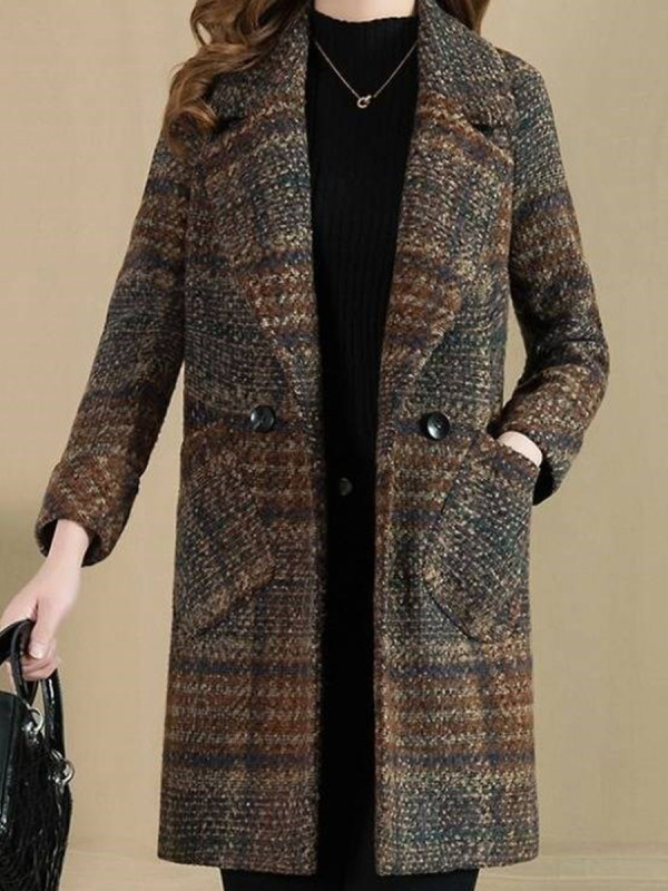 Notch Lapel Plaid Coat