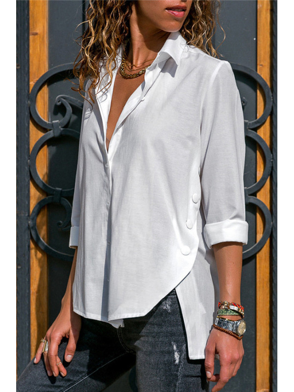 Plain Irregular Long Sleeve Chiffon Blouse Shirts & Tops