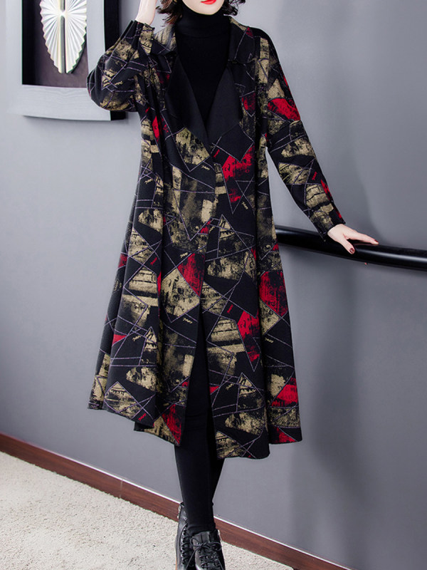 Printed Mid-length Woolen Coat