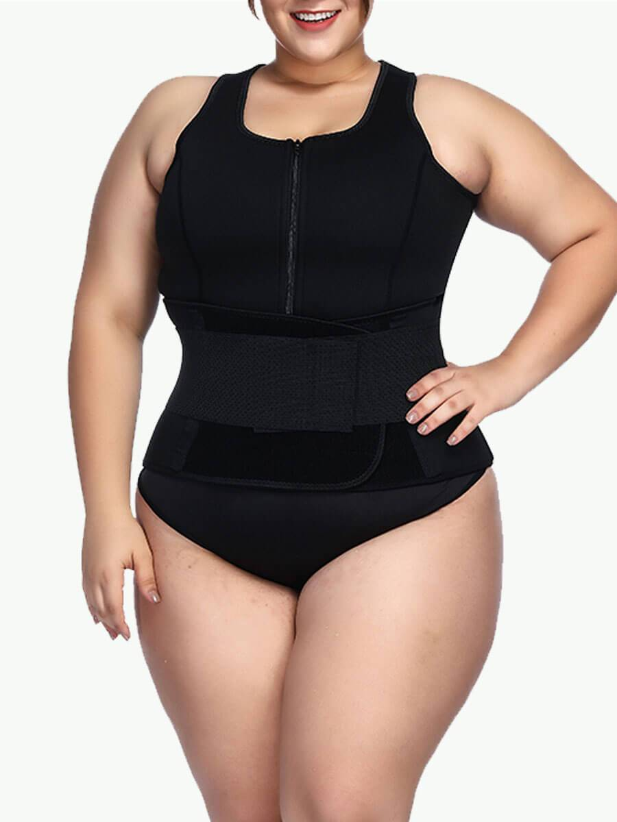 Sculptshe Plus Size Neoprene Vest Front Zip Waist Trimmer