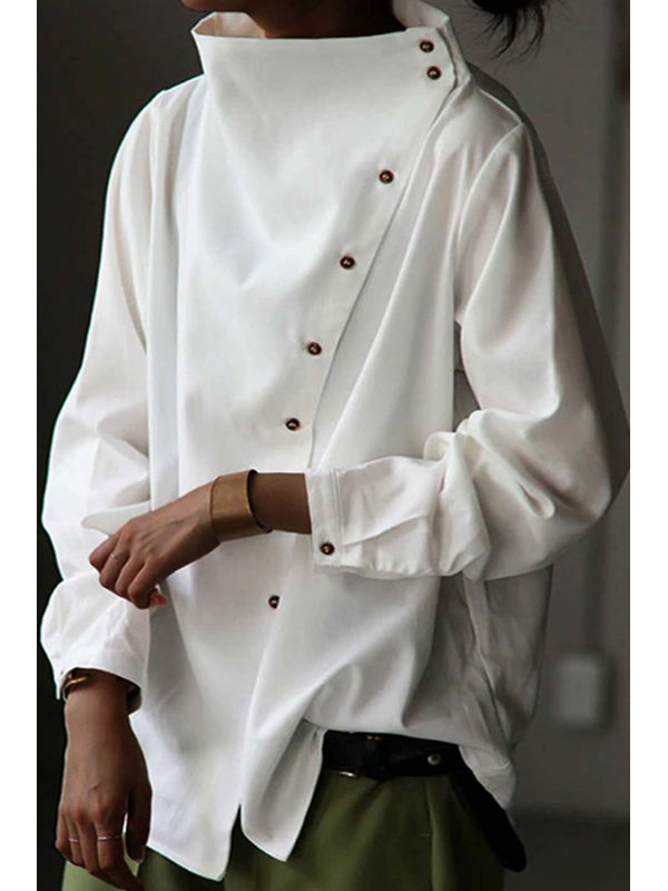 Simple casual solid color irregular shirt