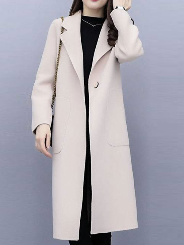 Turn-down Collar Long-sleeved Solid Color Woolen Coat