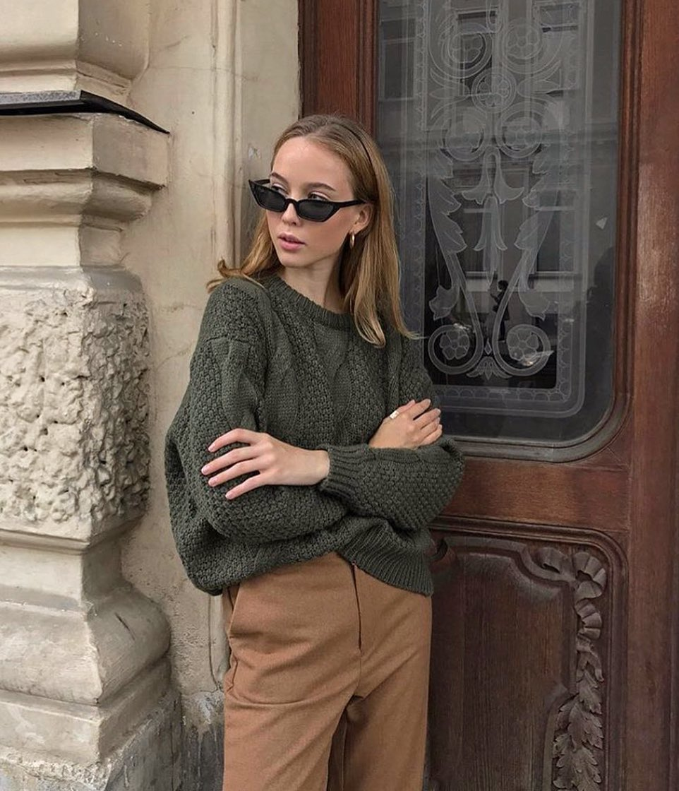 Earthy Tones Outfit With Basic Sweater Style Ideas