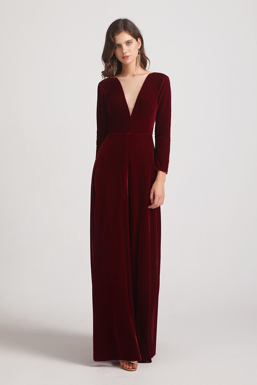 Long Sleeve Velvet Bridesmaid Dresses with Illusion V-neck