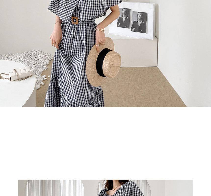 DABAGIRL - Capelet Gingham Long Dress